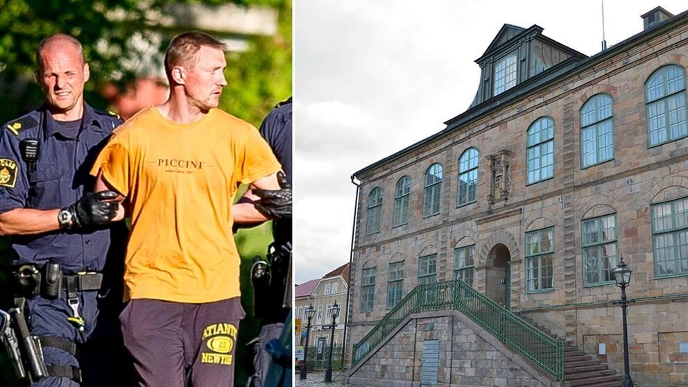 Bild på när Nerijus Bilevicius, som nu dömts för mordet på Lisa Holm, gips. Göta hovrätt i Jönköping.