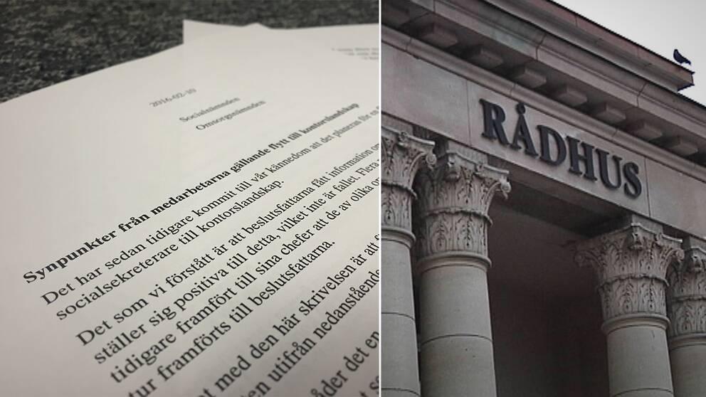 I ett brev varnar Karlshamns socialsekreterare över konsekvenserna av en flytt till kontorslandskap.