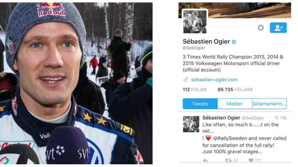 Sébastien Ogier är skeptisk till rallyvägarna. Twittrade om att han aldrig påstått att hela rallyt borde ställas in.