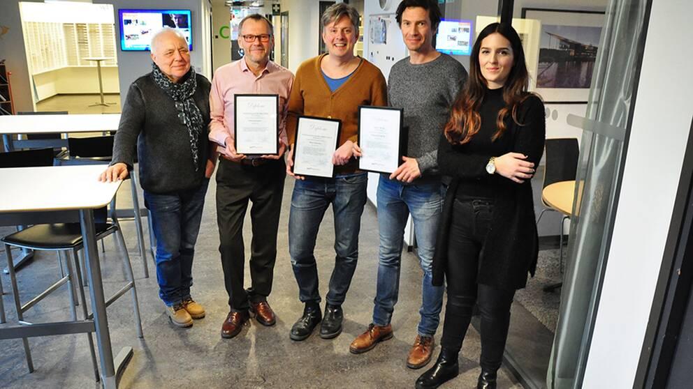 Vinnare i Sverigepriset. De prisade från vänster: Rune Bergström, Nils Chöler, Henrik Kruusval, Jesper Henke och Angelica Capitao Patrao.