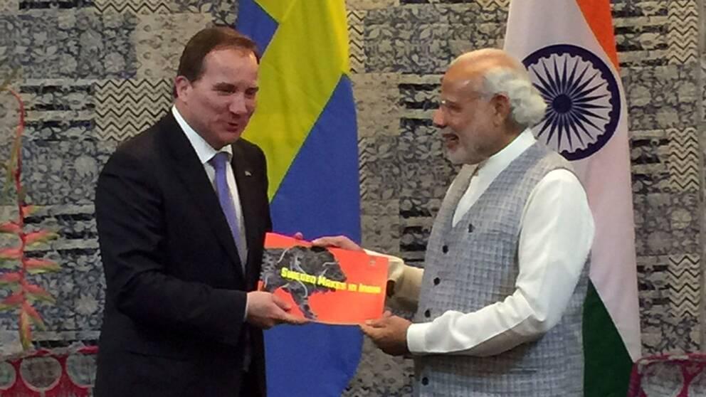 Stefan Löfven och Indiens premiärminister Modi.