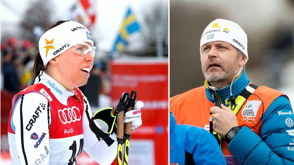 Damtränaren Mattias Persson och Charlotte Kalla.