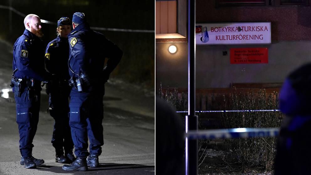 Strax efter klockan halv tio på onsdagskvällen fick polisen in det första samtalet från en person som sade sig ha hört en kraftig smäll vid Botkyrkas turkiska kulturförening i Fittja.