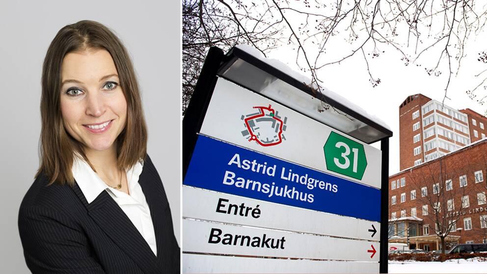 Bild på Ella Bohlin, barn- och äldrelandstingsråd, samt en skylt på Astrid Lindgrens Barnsjukhus.