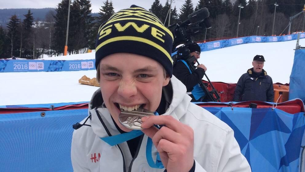 Filip Wennerström från Sundsvall silvermedaljör i ungdoms-OS i slalom