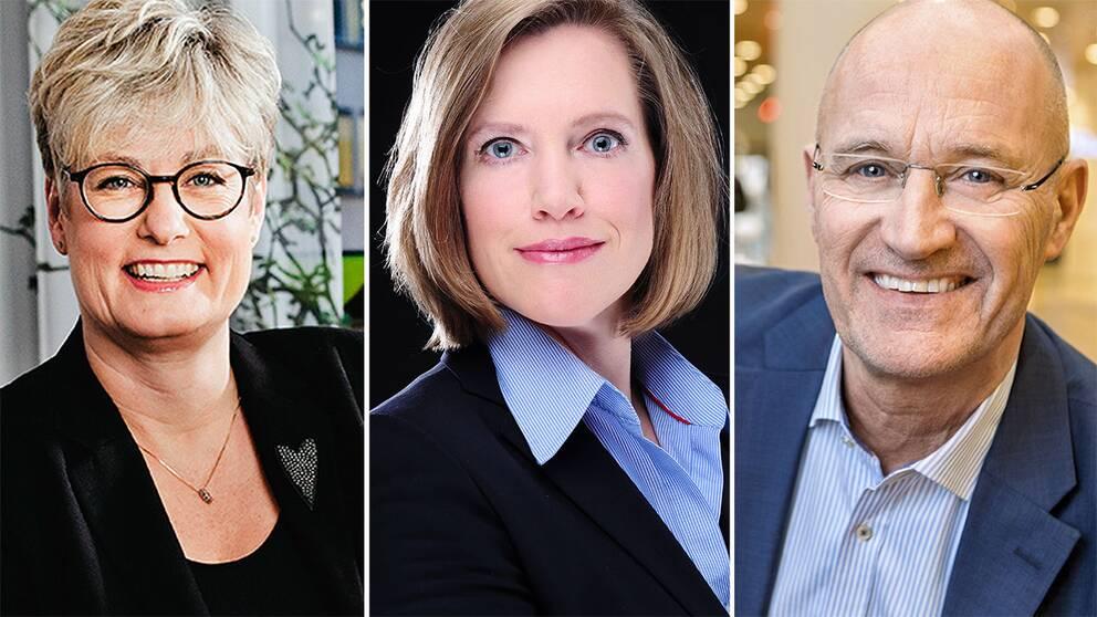 Marie Linder på Hyresgästföreningen, forskaren Anna Granath Hansson, och Reinhold Lennebo, vd Fastighetsägarna.