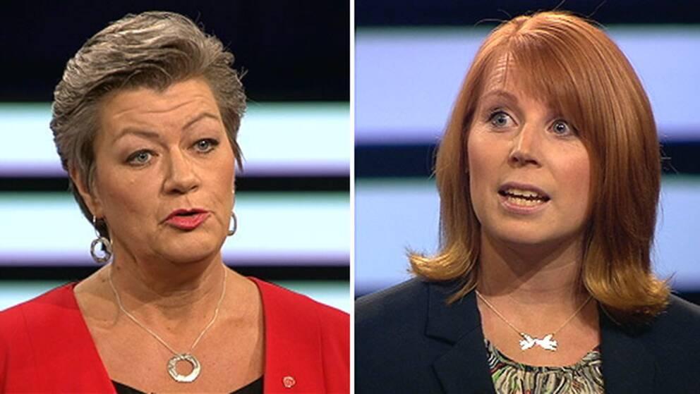 Arbetsmarknadsminister Ylva Johansson (S) och Annie Lööf, partiledare (C) i debatt i SVT:s Agenda om ingångsjobb