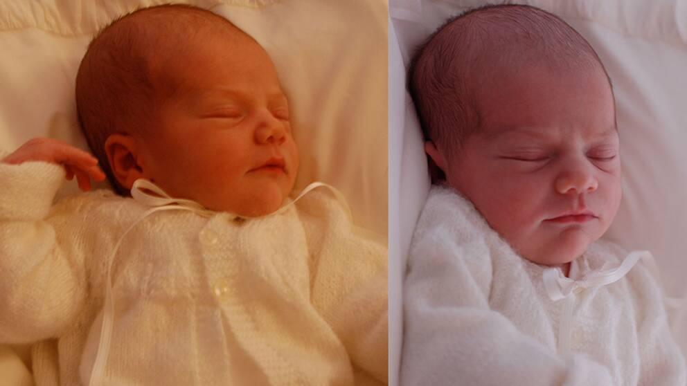 Prinsessan Estelle fotograferad fyra dagar gammal. Bilderna är tagna på Haga Slott. Koftan är stickad av Kronprinsessans mormor Alice.