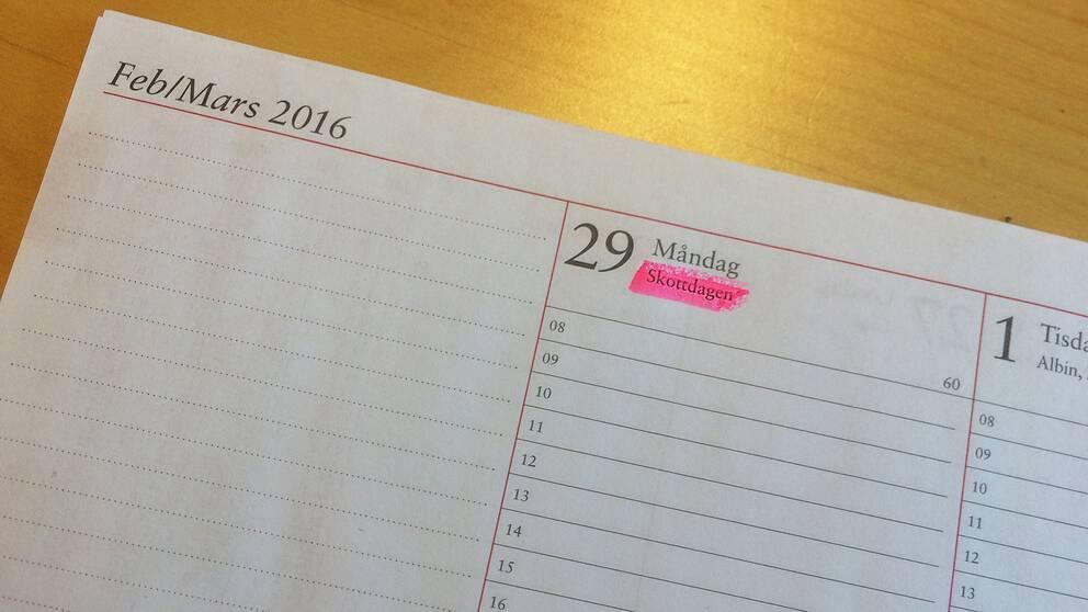 Skottdagen infaller den 29 februari 2016.