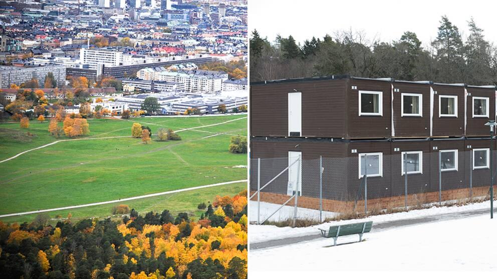 En tvådelad bild på Gärdet i Stockholm och bostadsbaracker för flyktingar.