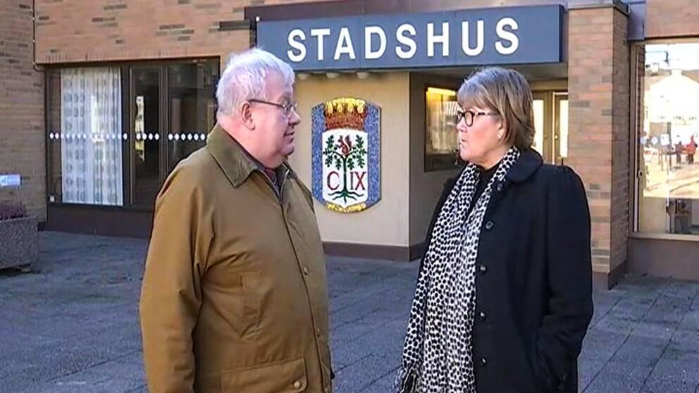 Kommunalrådet Tomas Peterson (M) och kommunstyrelsens vice ordförande Helen Nilsson (S).