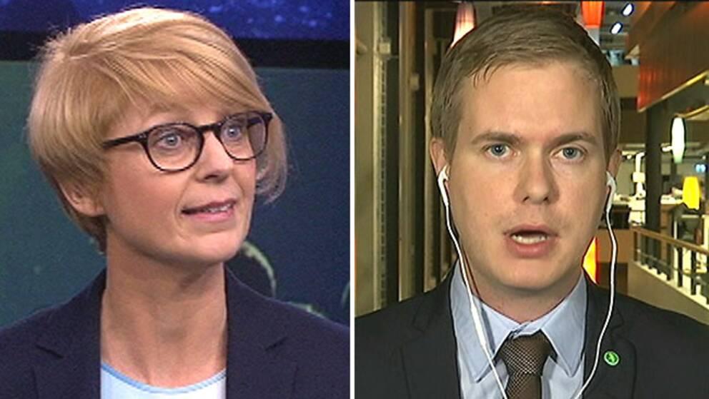 Elisabeth Svantesson (M), migrationspolitisk talesperson och Gustav Fridolin (MP), språkrör