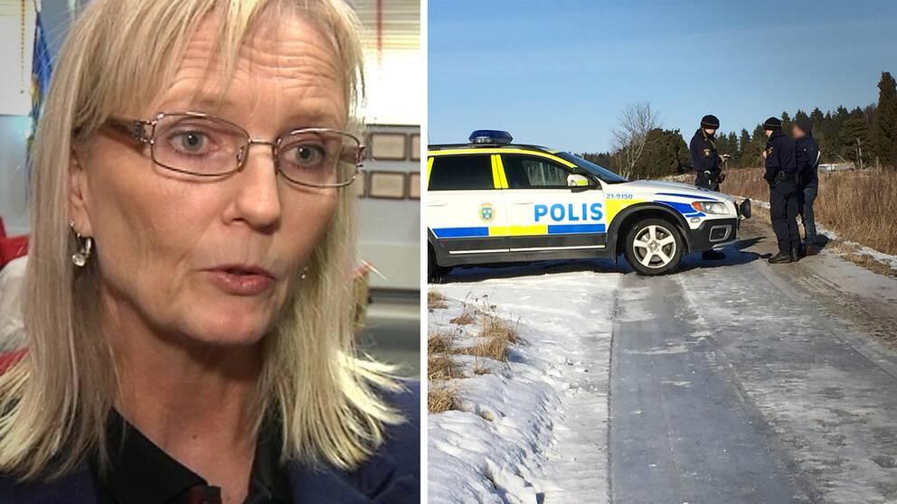 Till vänster Kammaråklagare Anne Sjöblom. Till höger några poliser vid avspärrningen i Örsundsbro där polisen misstänkte att ett mord på en kvinna begåtts.