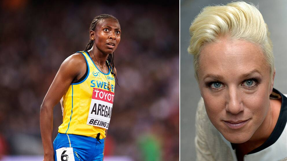 Abeba Aregawi och SVT Sports experts Kajsa Bergqvist.