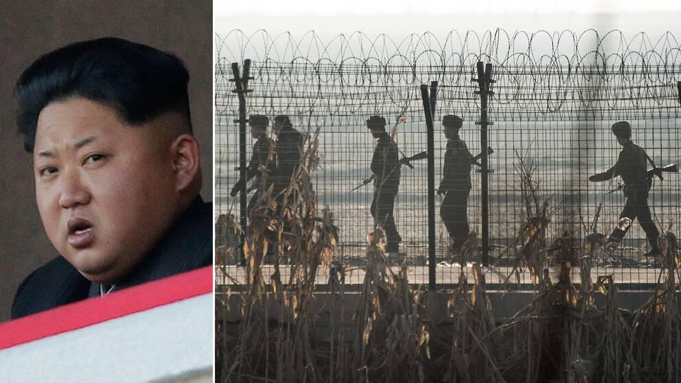 Kim Jong Un och en bild på nordkoreanska soldater.