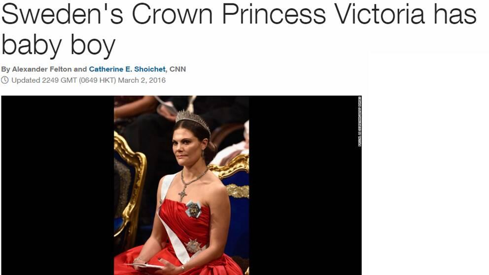 """En skärmdump på CNN:s hemsida där det står """"Swedens' Crown Princess Victoria has baby boy"""""""