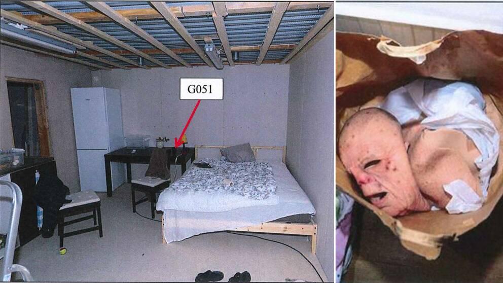 Här hölls kvinnan inspärrad i en bunker. Till höger i bild masker som hittades hos den dömde mannen.