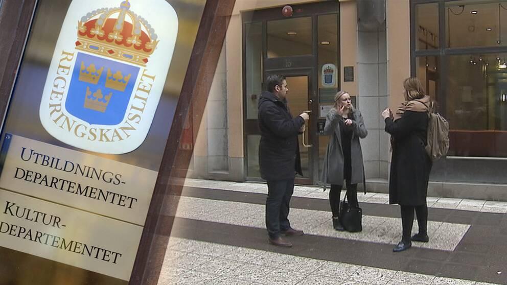 Dövaktivister utanför kulturdepartementet