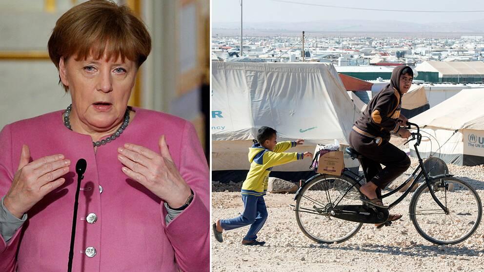 Tysklands förbundskansler Angela Merkel och flyktinglägret i Zaatari.