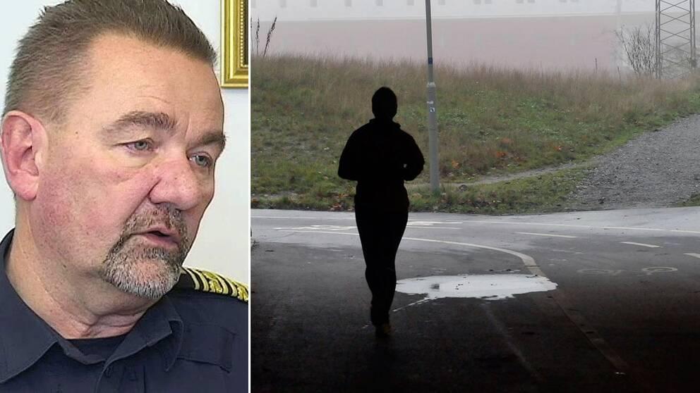 Polisområdeschefen i Östersund Stephen Jerand. Till höger en bild på en kvinna som joggar.