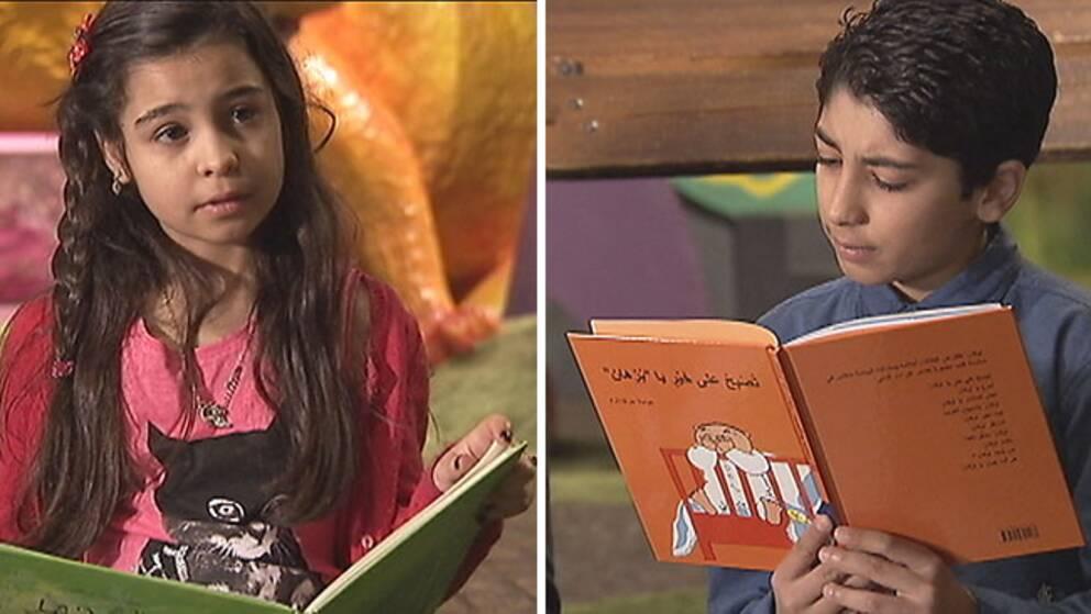 Barn läser barnböcker på arabiska