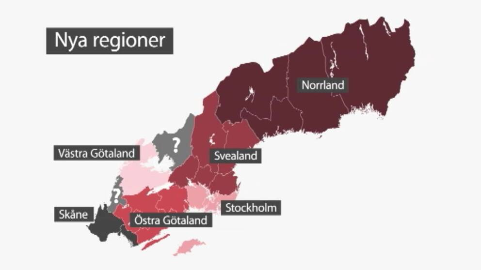 Karta över nya regioner i Sverige