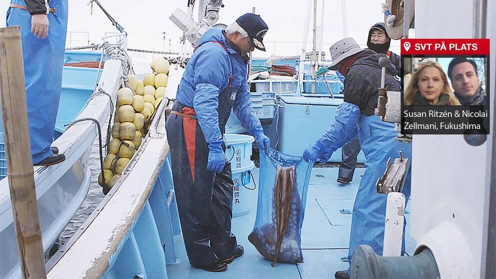 Kimio Sato med en del av dagens fångst, en bläckfisk.