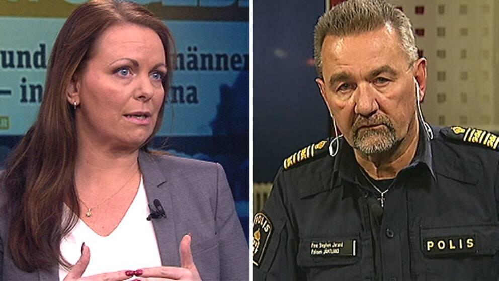 Katarina Wennstam, författare specialiserad på ämne sexuellt våld, i debatt med områdespolischef Stephen Jerand i Östersund.