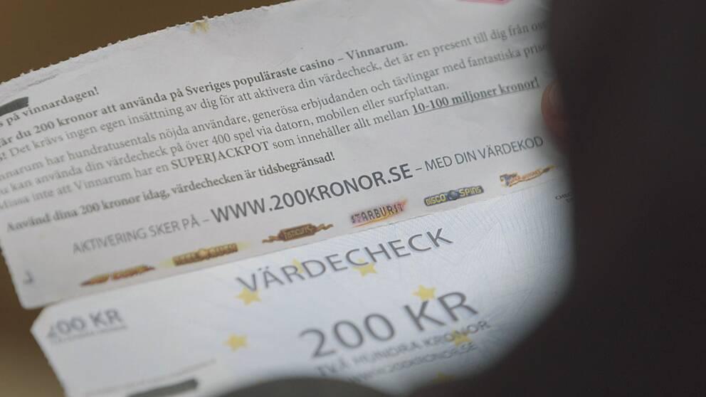 Bild på värdecheck från nätcasino.