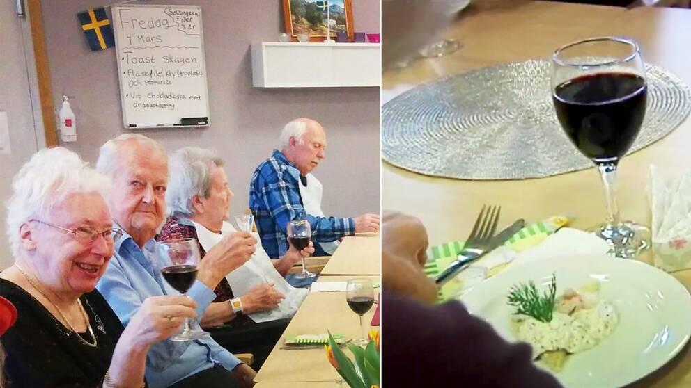 Glada pensionärer får skåla och äta lyxlunch var tredje vecka på äldreboendet Solängen.