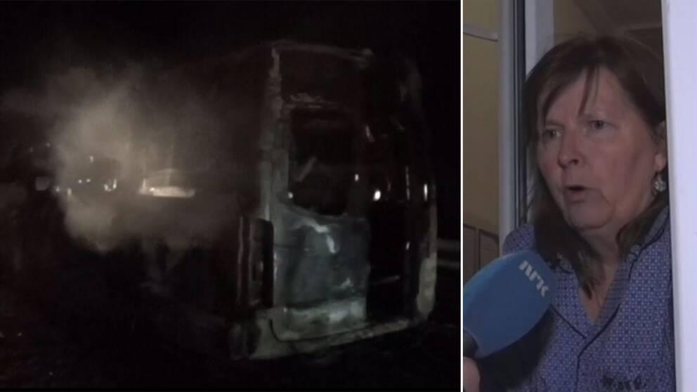 Till vänster en buss som eldhärjats och till höger i bild Sveriges Radios Moskvakorrespondent Maria Persson Löfgren.