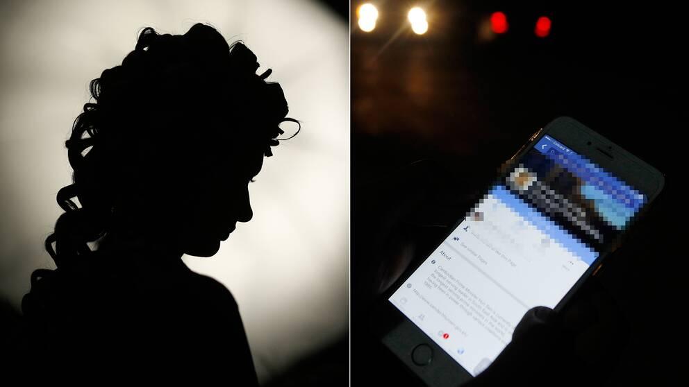 Flicka i mörkt rum och någon som skriver Facebook-meddelande.