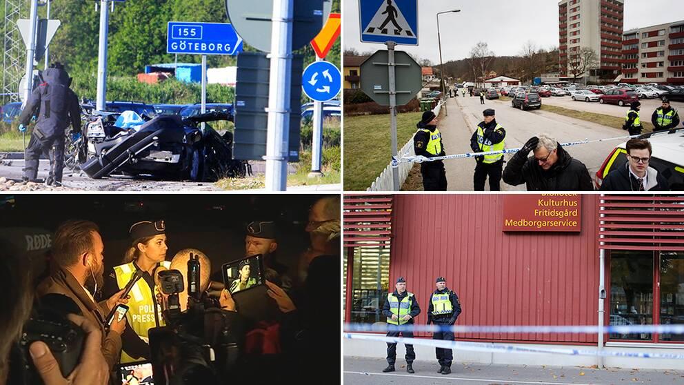 Explosionen i Torslanda, Trippelmordet i Uddevalla, När polisen berättade att Lisa Holm var död, Poliser utanför Kronans skola i Trollhättan.