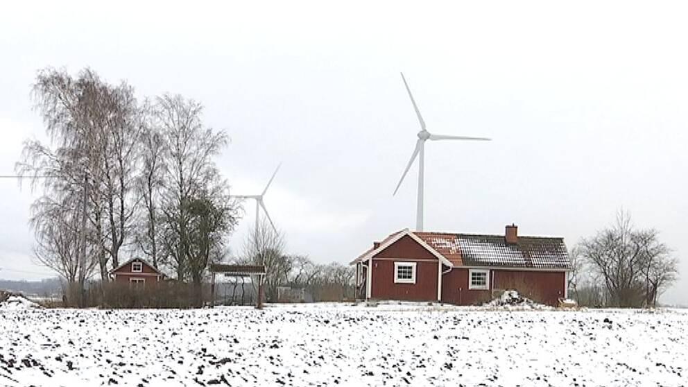 Vindkraftverk på östgötaslätten