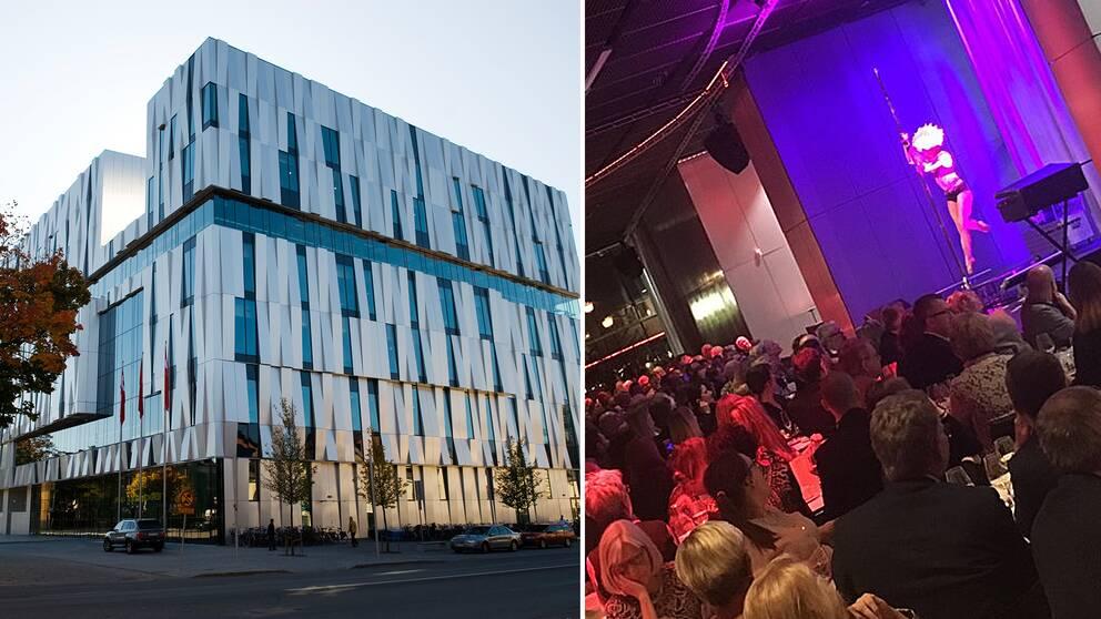 Till vänster Uppsala konsert och kongress. Till höger bild från SKL:s kommundagars middag, med en pole-dancingkvinna på scen