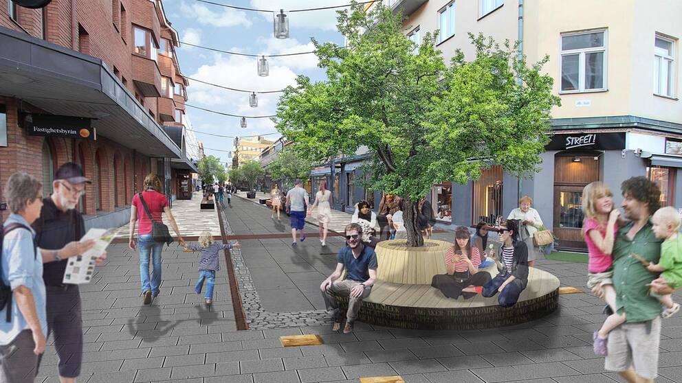 Den delen av Kungsgatan som kommer byggas om först, den från Kyrkogatan till Fristadstorget.