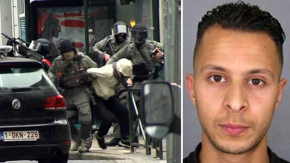 Här grips den misstänkte terroristen Salah Abdeslam.
