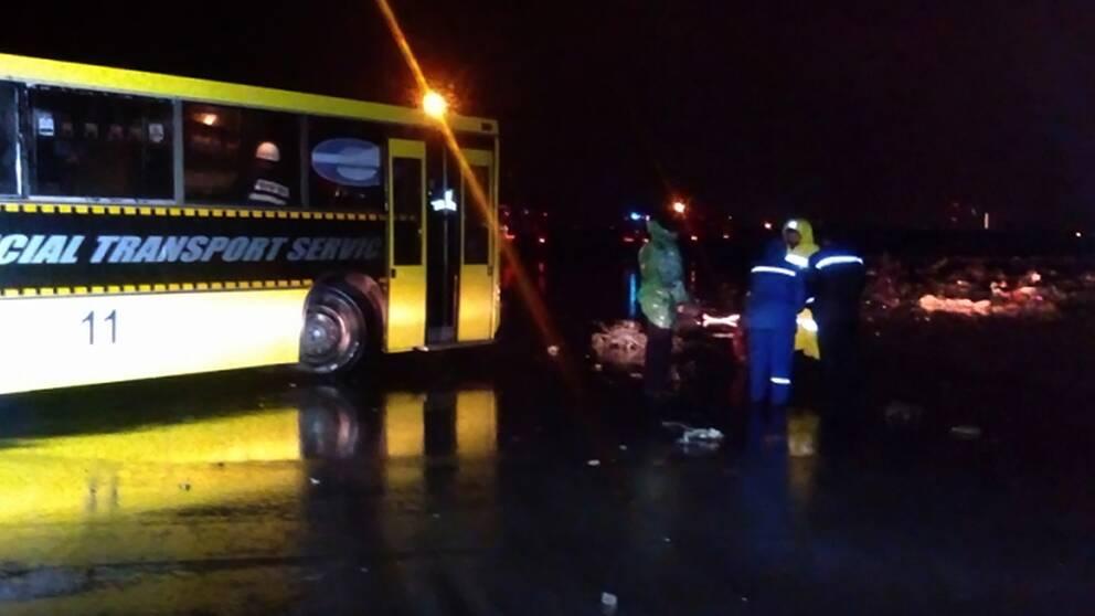 Rysk sjukvårdspersonal på olycksplatsen i Rostov.