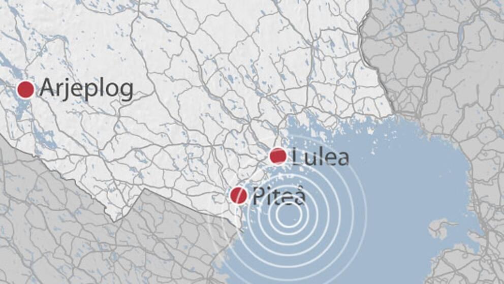 Jordskalvet hade sitt epicentrum i Bottenviken, ca fem mil söder om Luleå.
