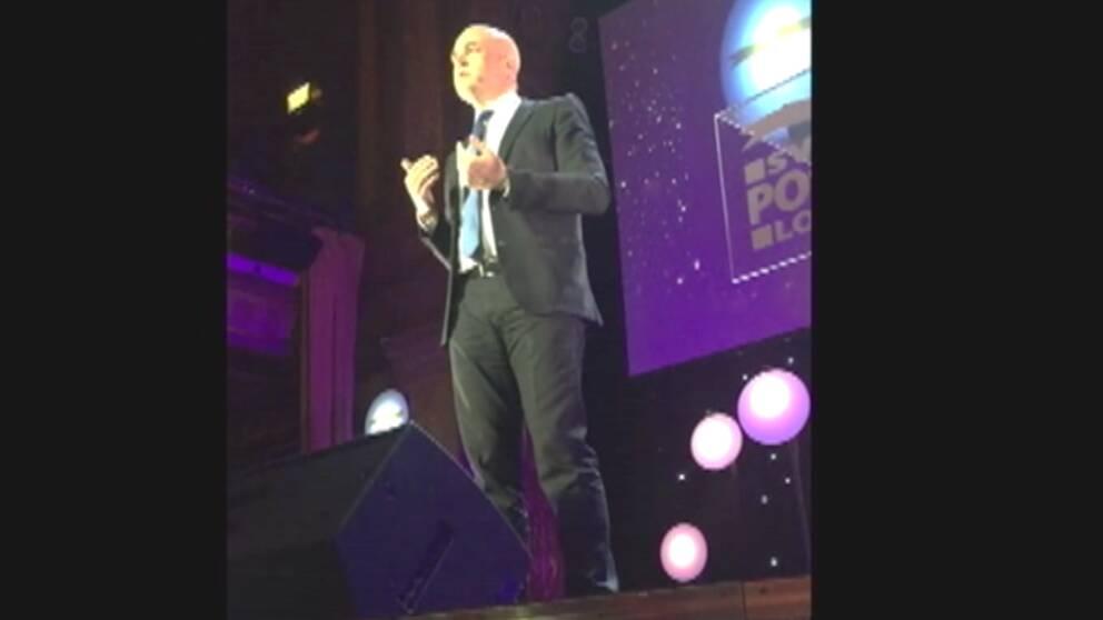 Fredrik Reinfeldt höll tal på Postkodlotteriets gala i måndags.