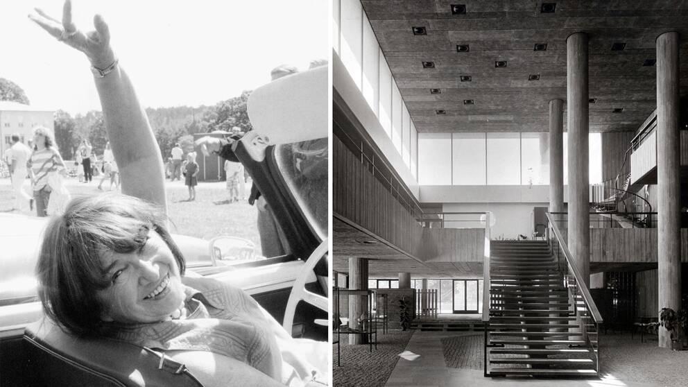 Montage: Léonie Geisendorf och interiören på S:t Görans gymnasium.