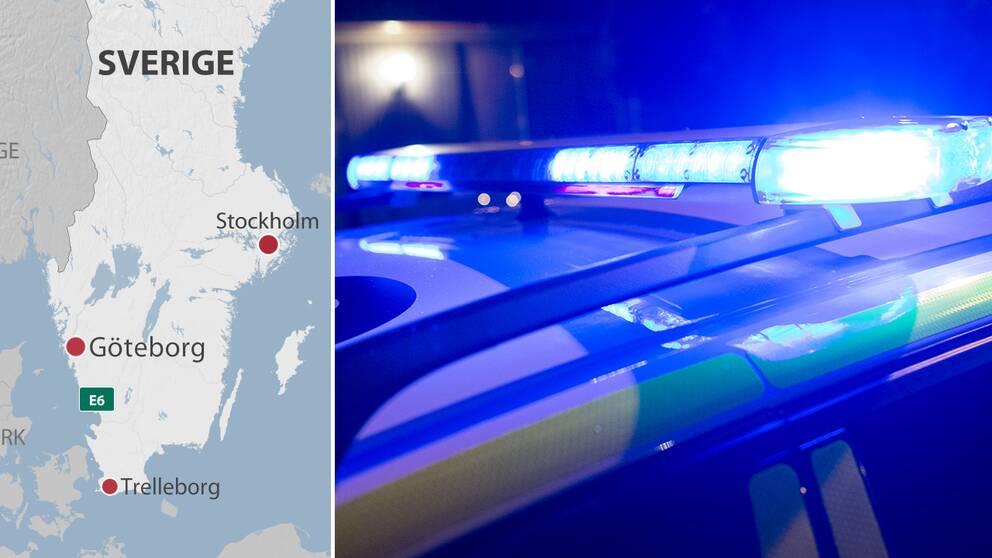 Karta över södra Sverige där Göteborg och Trelleborg är utmärkta. Blåljus på polisbil.
