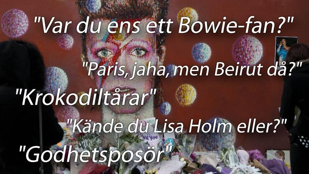Minnesmuralen av David Bowie i London har blivit en samlingsplats för sörjande fans.