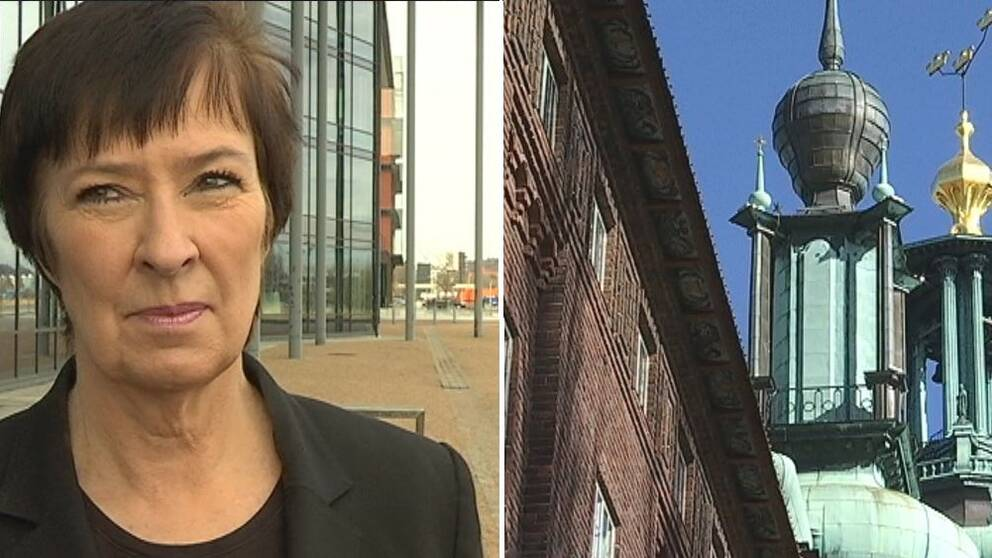 Delad bild: Till vänster, Mona Sahlin och till höger, Stadshuset.
