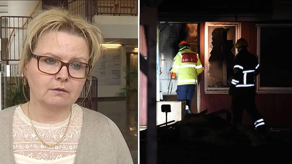 Monica Lindell Rylén (S), kommunalråd i Strängnäs uttalar sig om branden på det tänkta asylboendet.