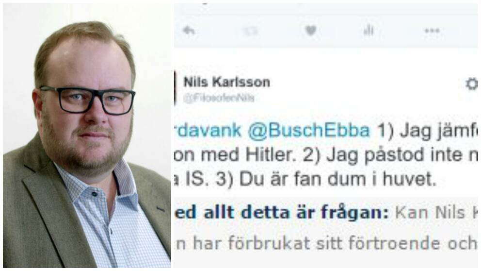 """""""Du är fan dum i huvet"""", twittrade Nils Karlsson till ArdavanKhoshnood, vice ordförande för Kristdemokraterna i Malmö."""