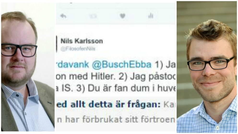 Miljöpartiets partisekreterare Anders Wallner (t h) lägger sig inte i kritiken mot Nils Karlsson i Malmö.