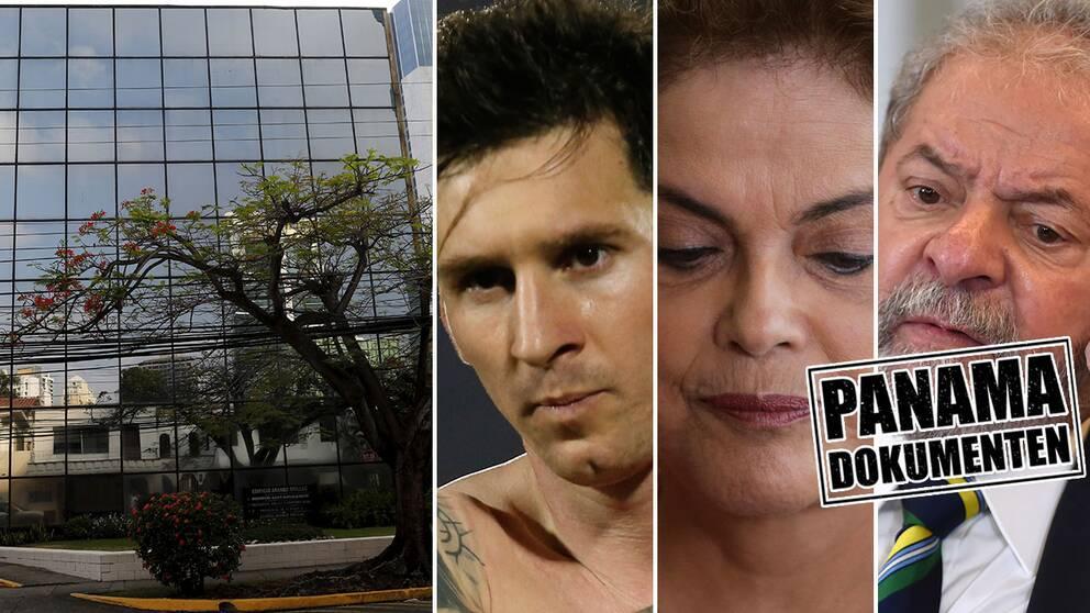 En bild på en fasad och en bild på Messi, två bilder på Brasiliens nuvarande, och tidigare, presidenter.