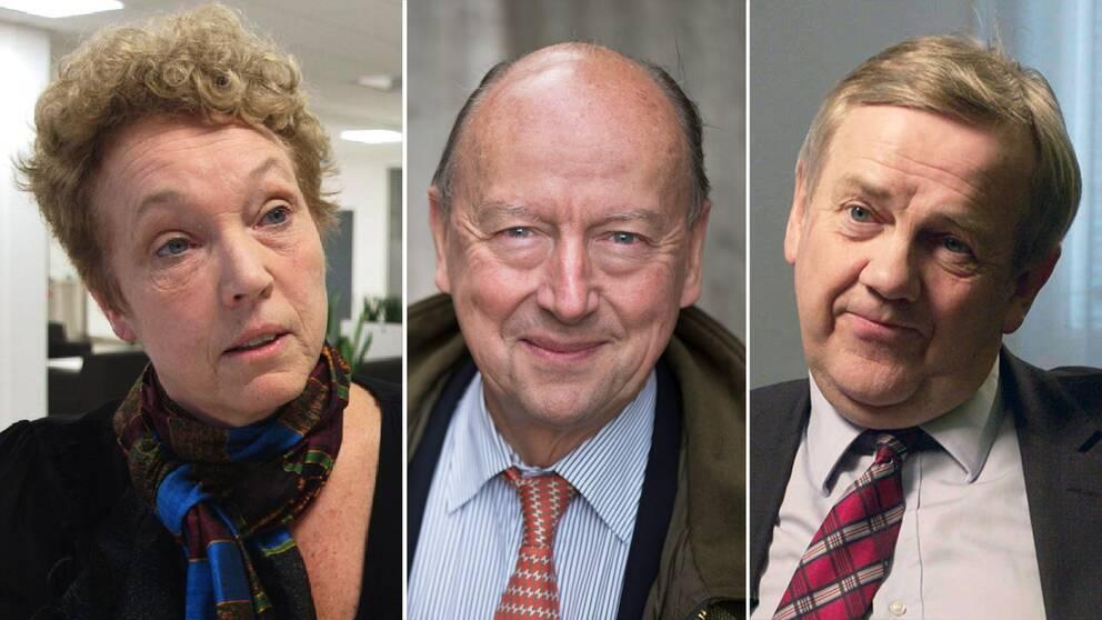 Skatteverkets överdirektör Helena Dyrrsen, den före detta toppdiplomaten Frank Belfrage och Skatteverkets generaldirektör Ingemar Hansson är före detta regeringskollegor.