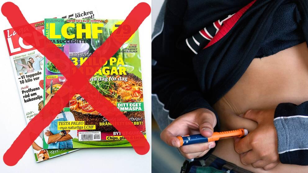 Lchf-tidningar överkryssade. Ett barn som tar insulinspruta.